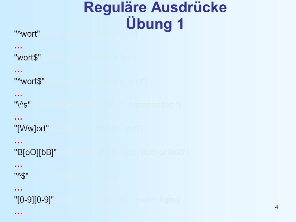 Reguläre Ausdrücke Übung 1