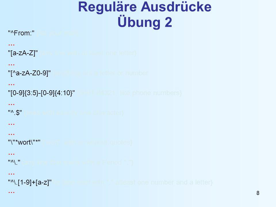 Reguläre Ausdrücke Übung 2
