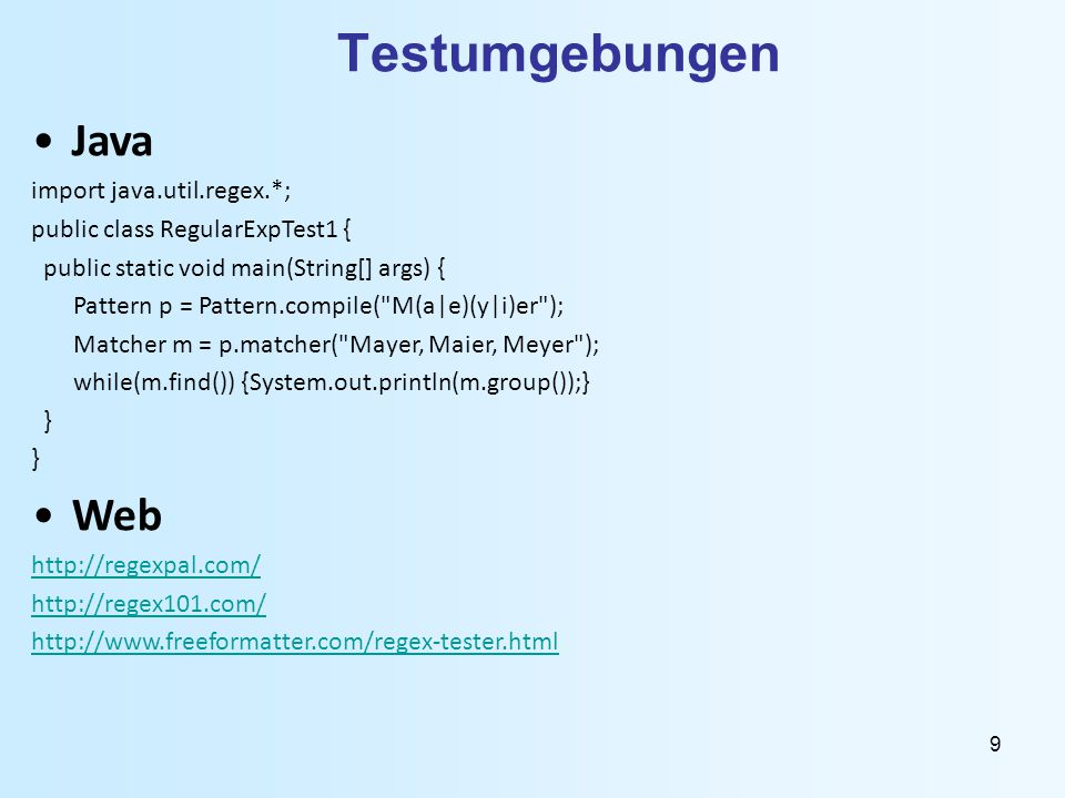 Testumgebungen Java Web import java.util.regex.*;