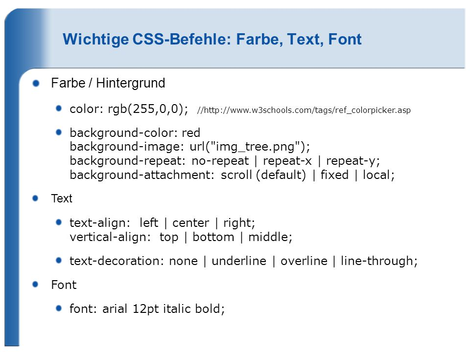 Wichtige CSS-Befehle: Farbe, Text, Font