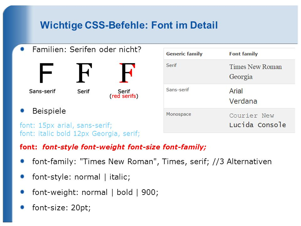 Wichtige CSS-Befehle: Font im Detail