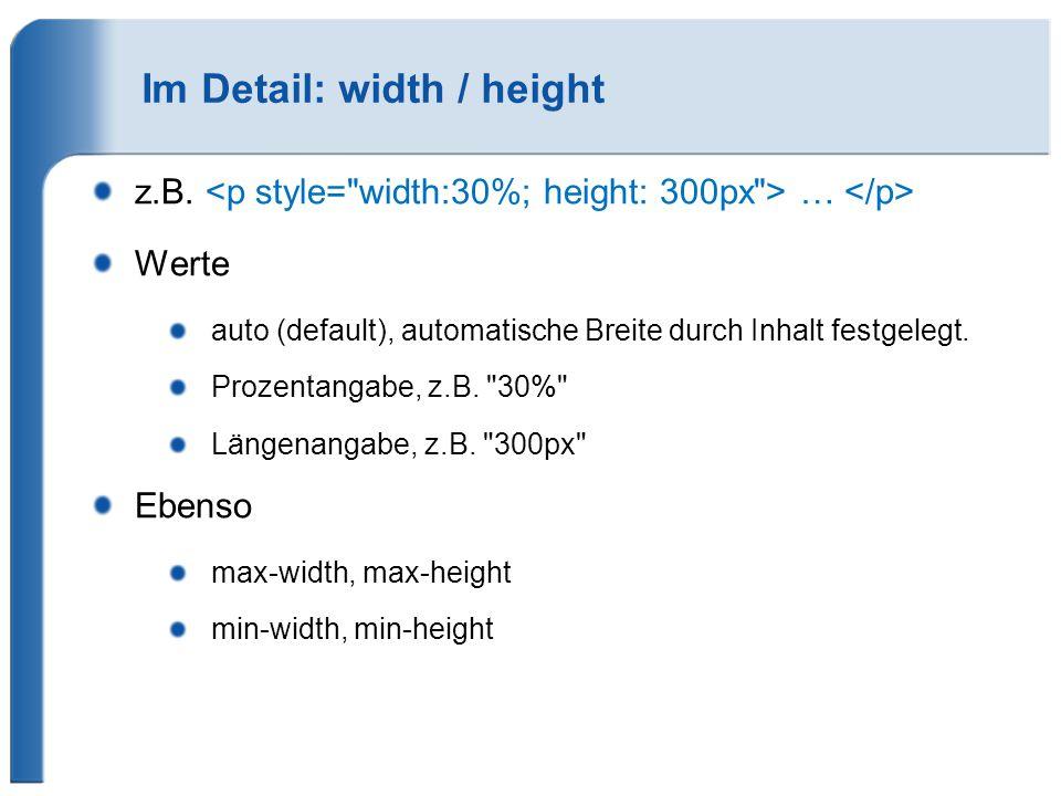 Im Detail: width / height