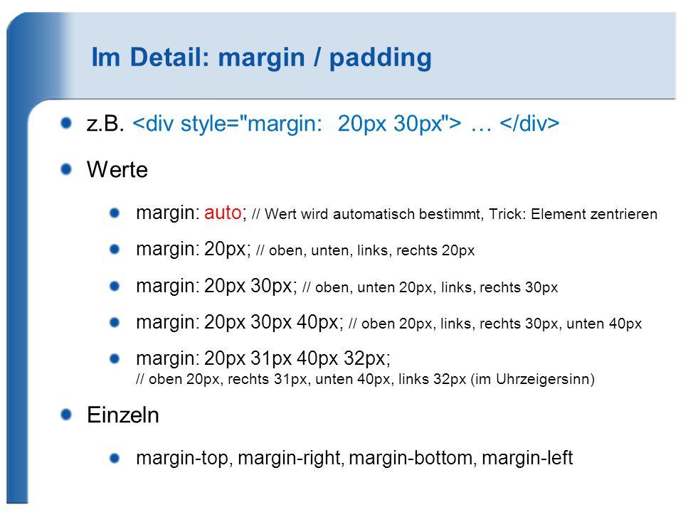 Im Detail: margin / padding