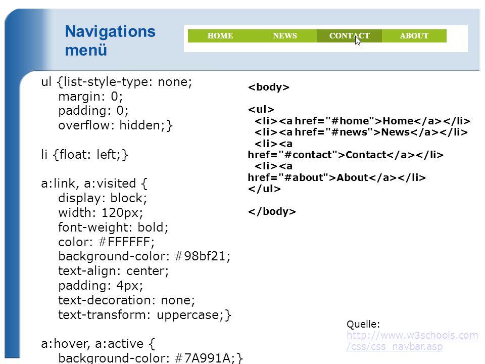 Navigations menü ul {list-style-type: none; margin: 0; padding: 0;