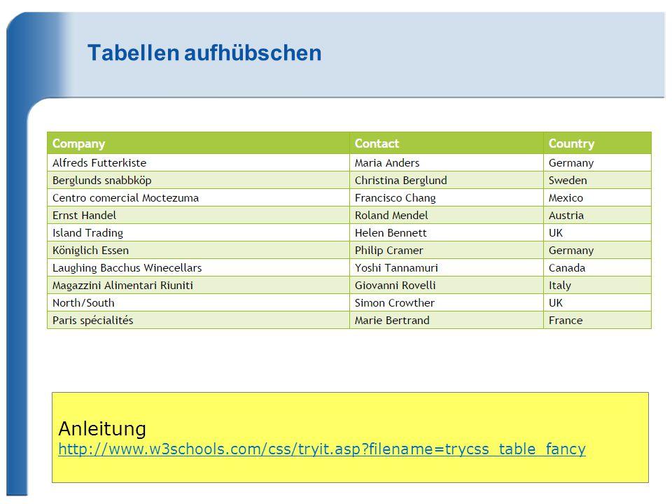 Tabellen aufhübschen Anleitung http://www.w3schools.com/css/tryit.asp filename=trycss_table_fancy