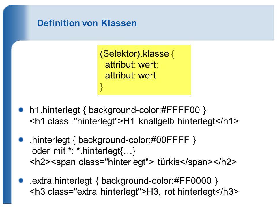Definition von Klassen