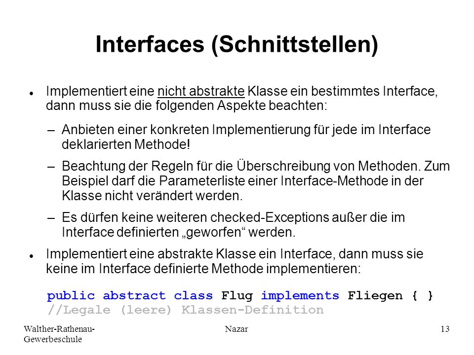Interfaces (Schnittstellen)
