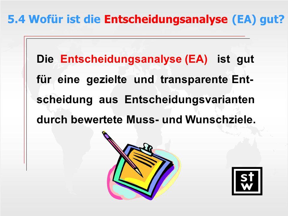 5.4 Wofür ist die Entscheidungsanalyse (EA) gut
