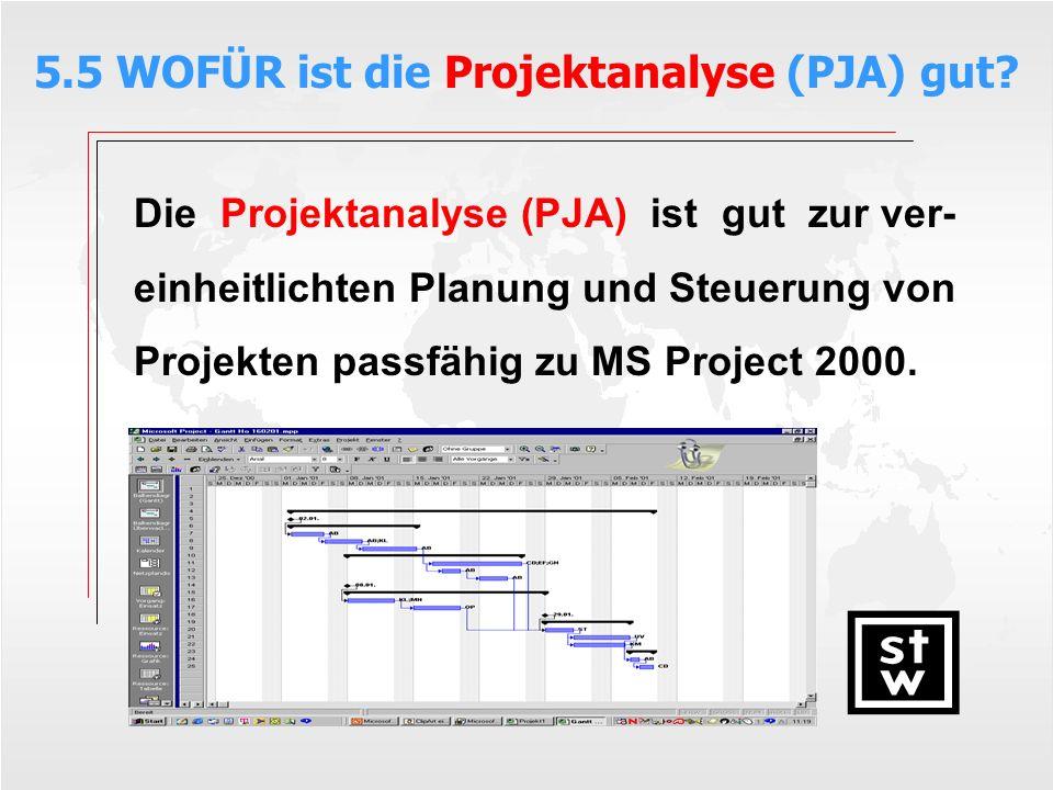 5.5 WOFÜR ist die Projektanalyse (PJA) gut