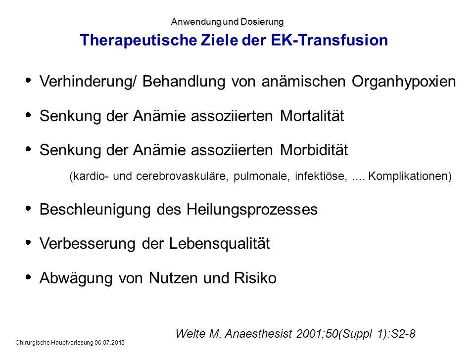 Therapeutische Ziele der EK-Transfusion