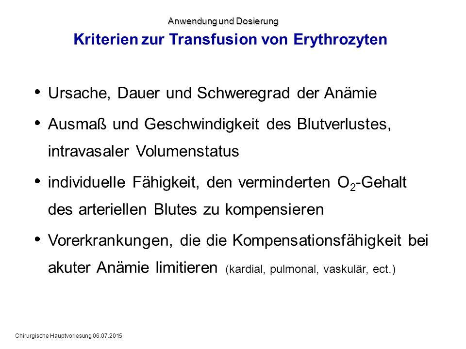 Kriterien zur Transfusion von Erythrozyten