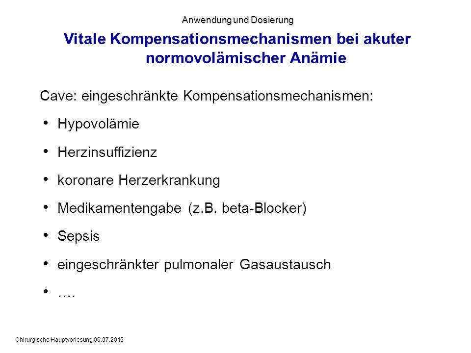 Vitale Kompensationsmechanismen bei akuter normovolämischer Anämie