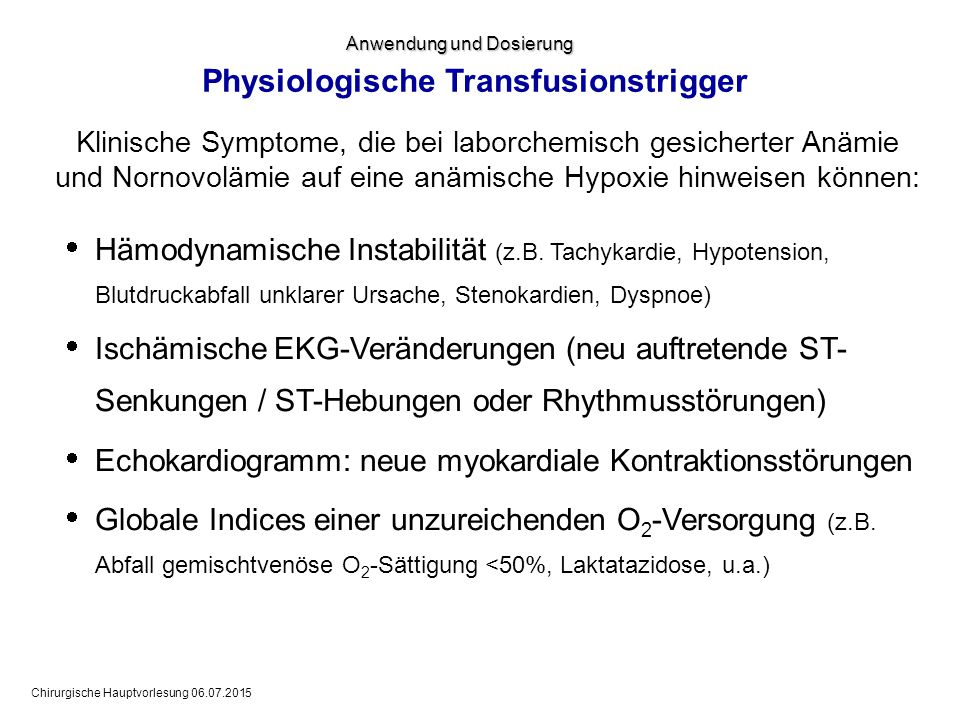 Physiologische Transfusionstrigger