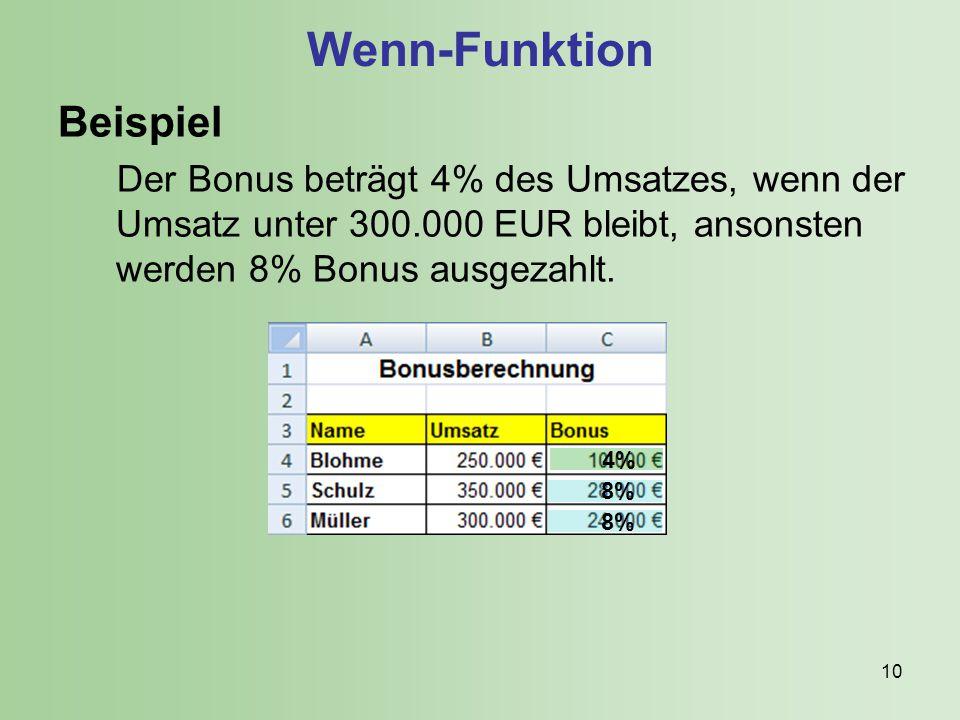 Wenn-Funktion Beispiel