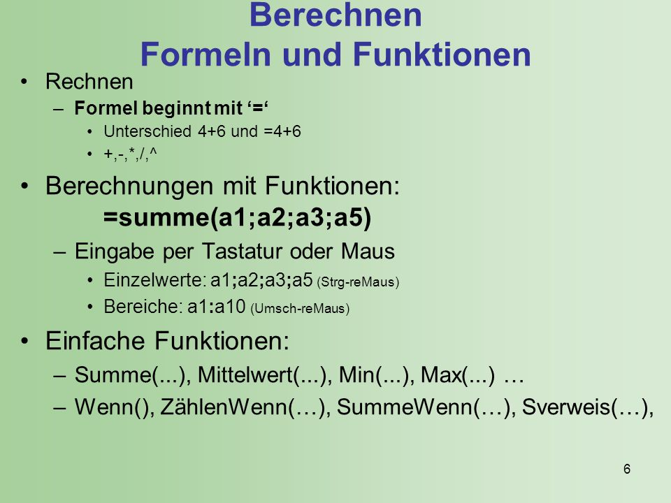 Berechnen Formeln und Funktionen