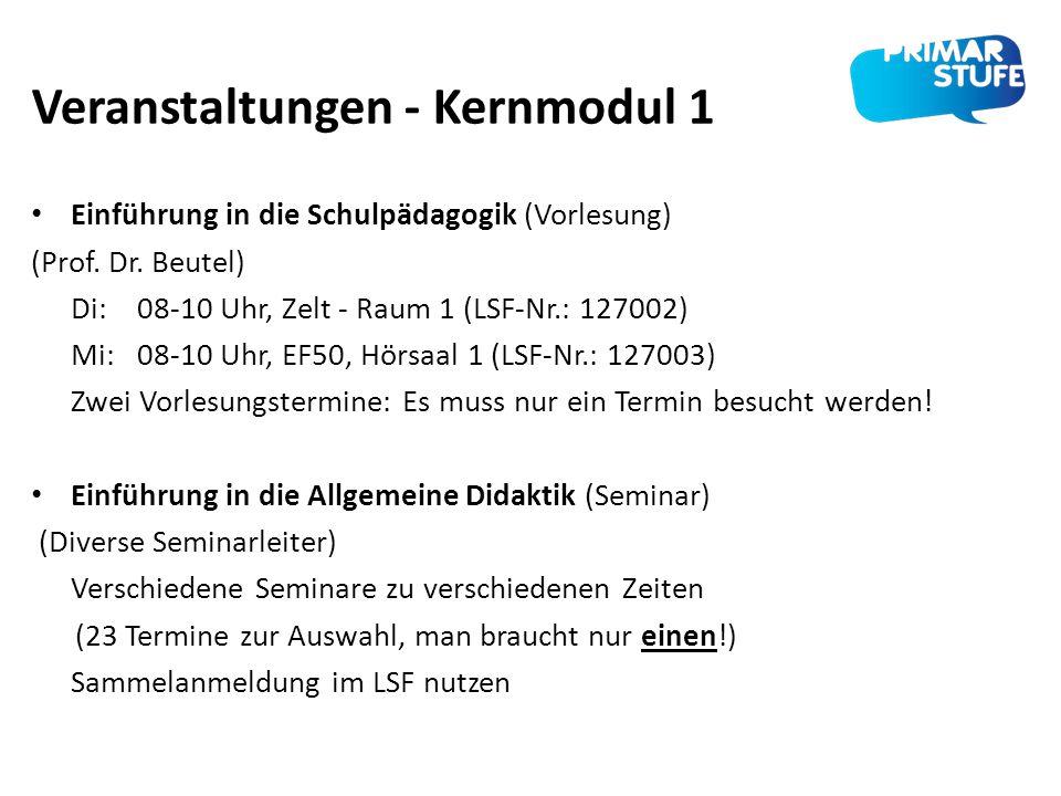 Veranstaltungen - Kernmodul 1