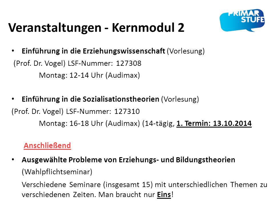 Veranstaltungen - Kernmodul 2