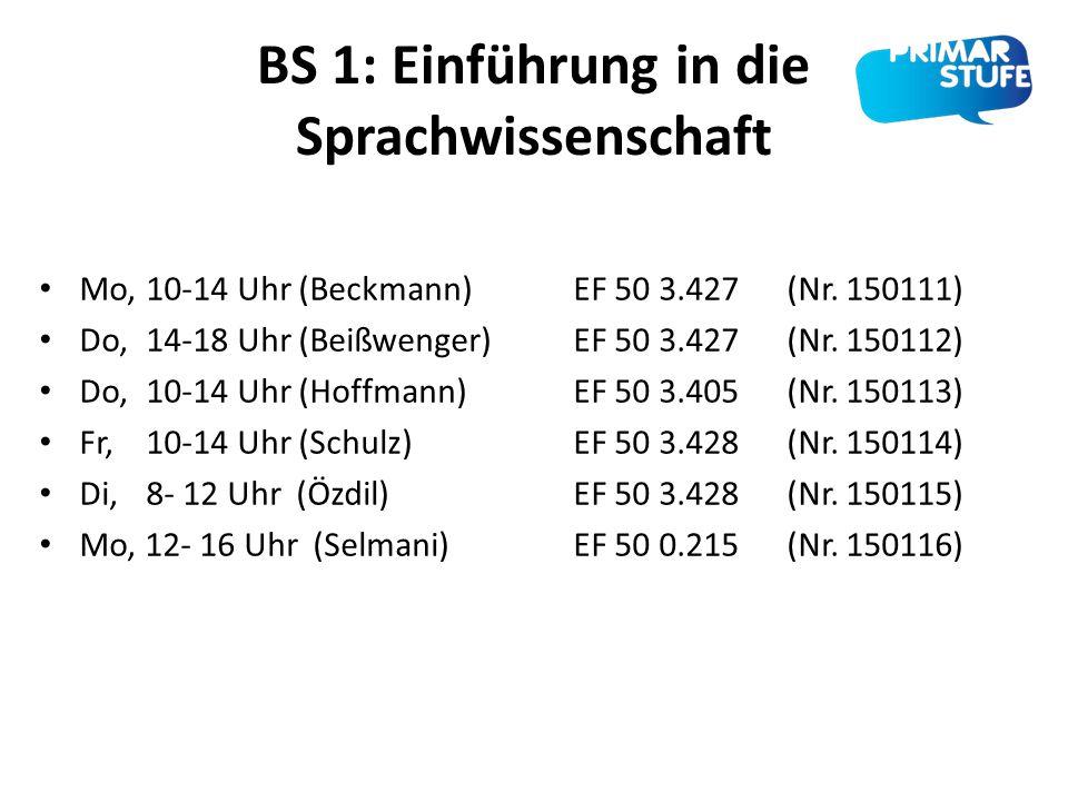 BS 1: Einführung in die Sprachwissenschaft