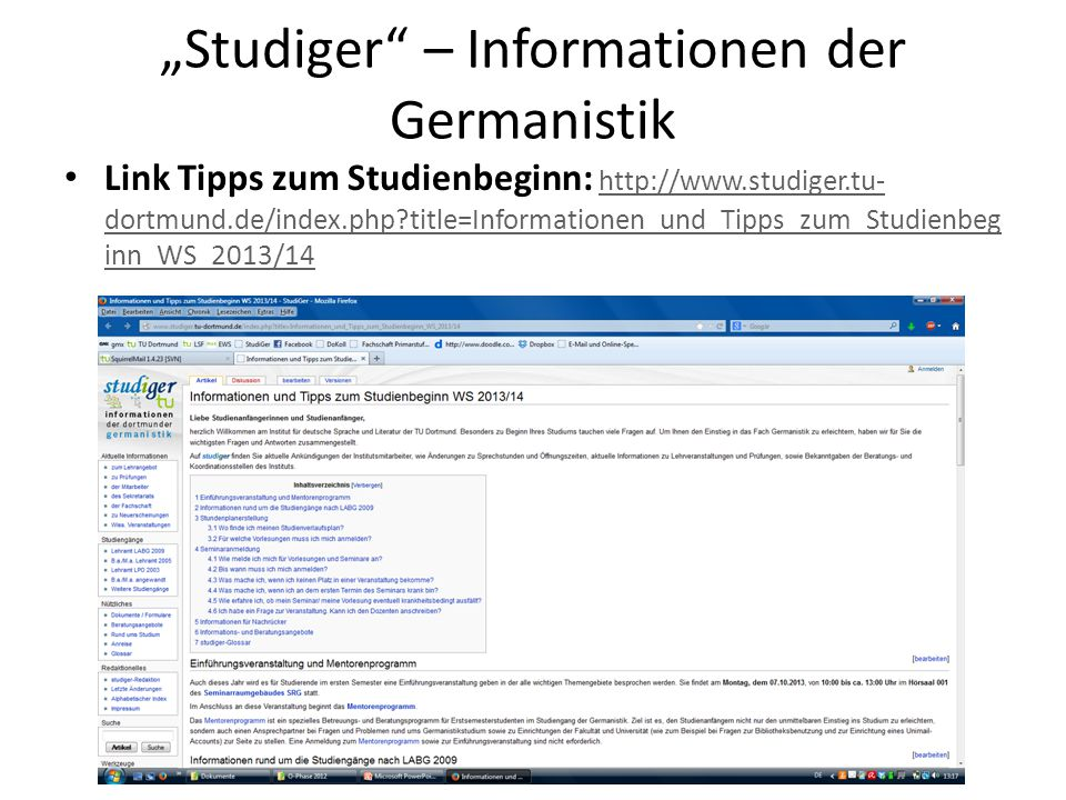 """Studiger – Informationen der Germanistik"