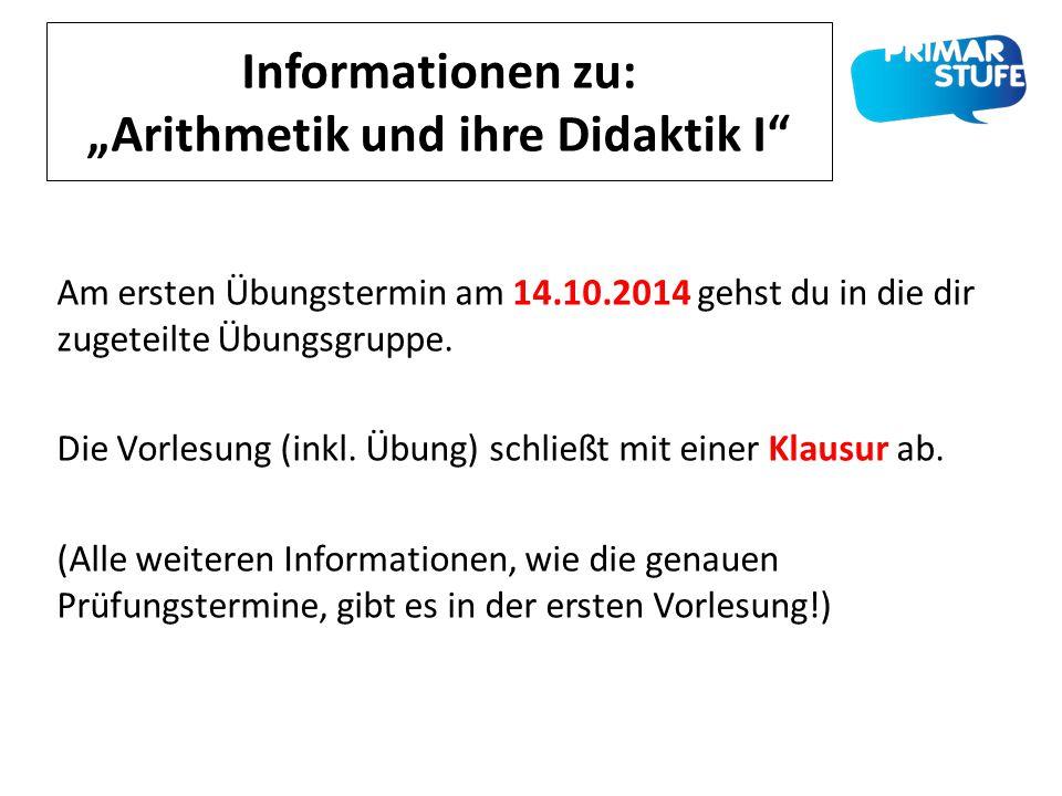 """Informationen zu: """"Arithmetik und ihre Didaktik I"""