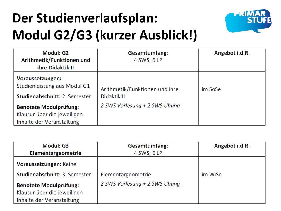 Der Studienverlaufsplan: Modul G2/G3 (kurzer Ausblick!)