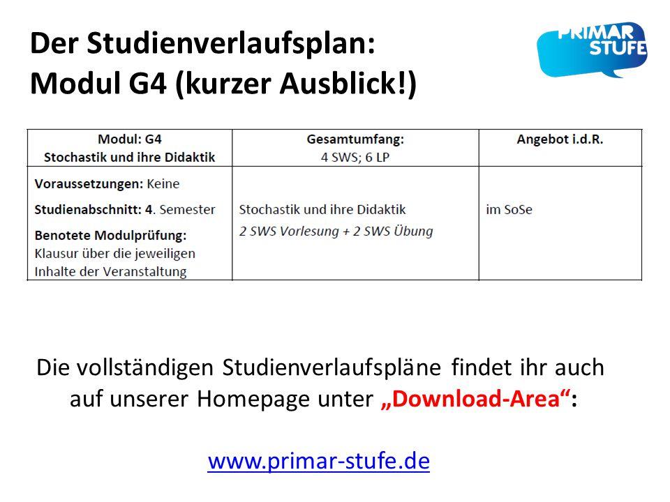 Der Studienverlaufsplan: Modul G4 (kurzer Ausblick!)
