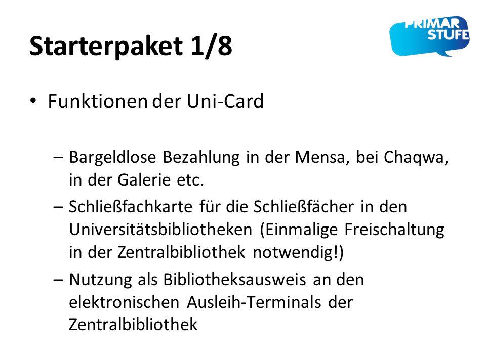 Starterpaket 1/8 Funktionen der Uni-Card