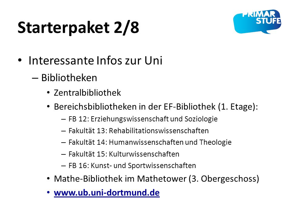 Starterpaket 2/8 Interessante Infos zur Uni Bibliotheken