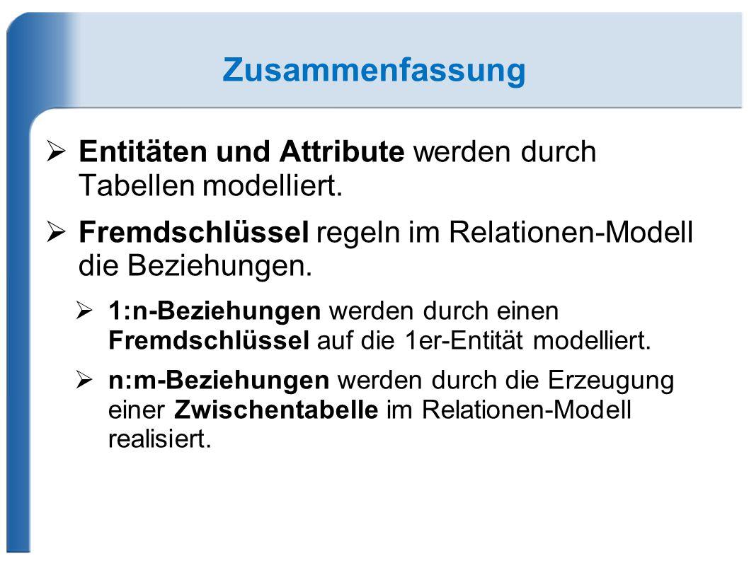 Zusammenfassung Entitäten und Attribute werden durch Tabellen modelliert. Fremdschlüssel regeln im Relationen-Modell die Beziehungen.