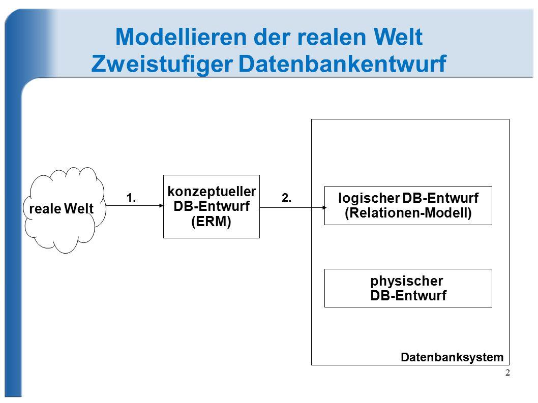 Modellieren der realen Welt Zweistufiger Datenbankentwurf