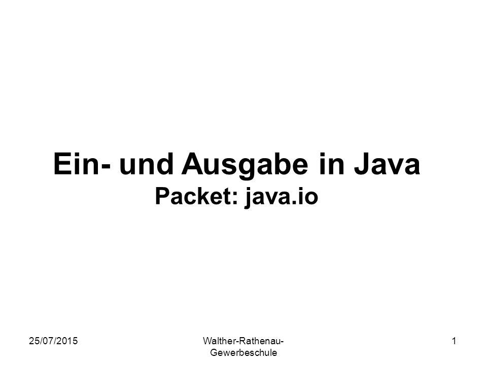 Ein- und Ausgabe in Java Packet: java.io