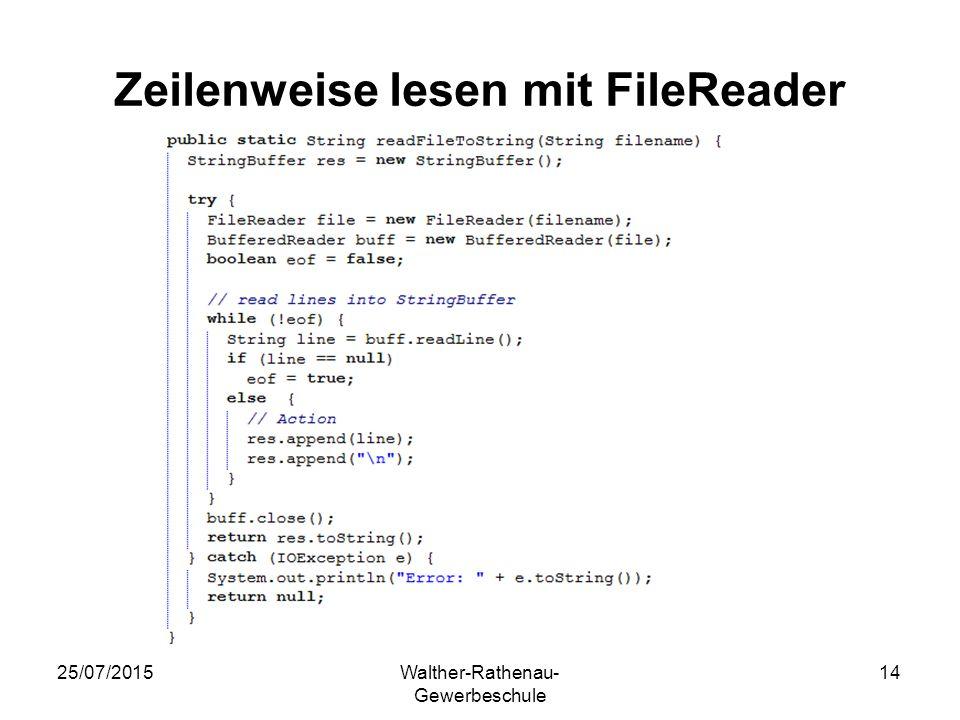Zeilenweise lesen mit FileReader