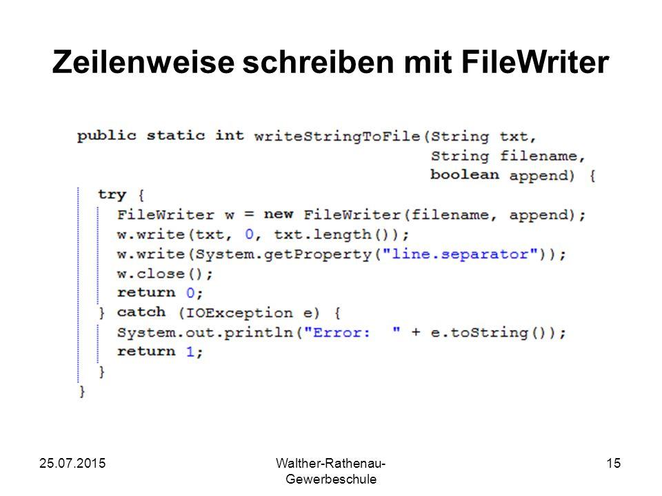 Zeilenweise schreiben mit FileWriter