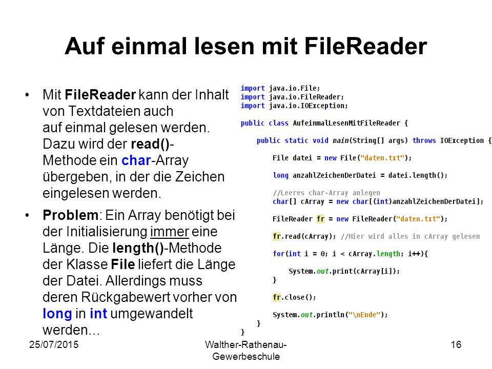 Auf einmal lesen mit FileReader