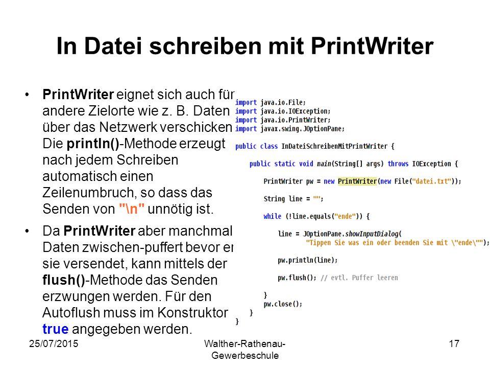 In Datei schreiben mit PrintWriter