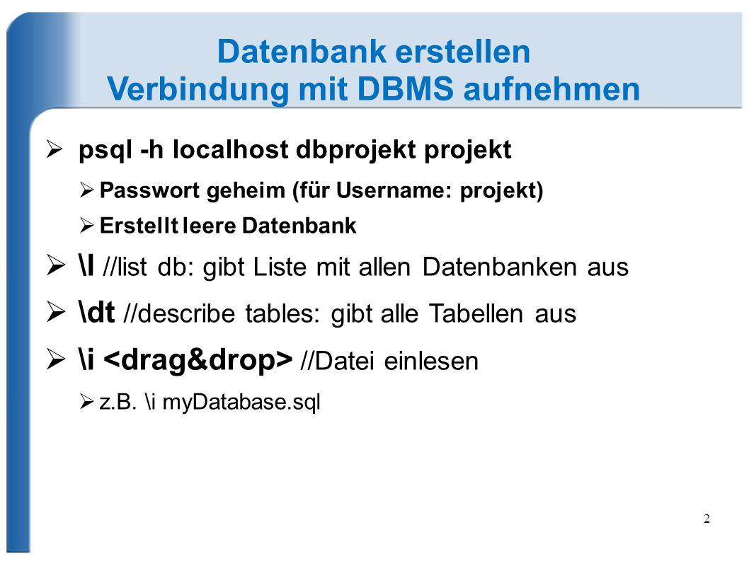 Verbindung mit DBMS aufnehmen