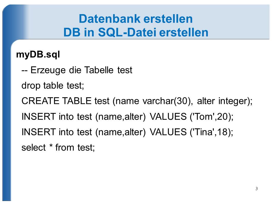 DB in SQL-Datei erstellen