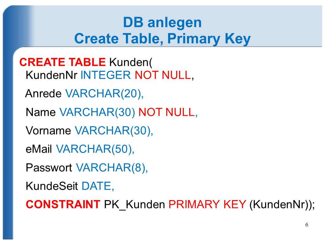 Create Table, Primary Key