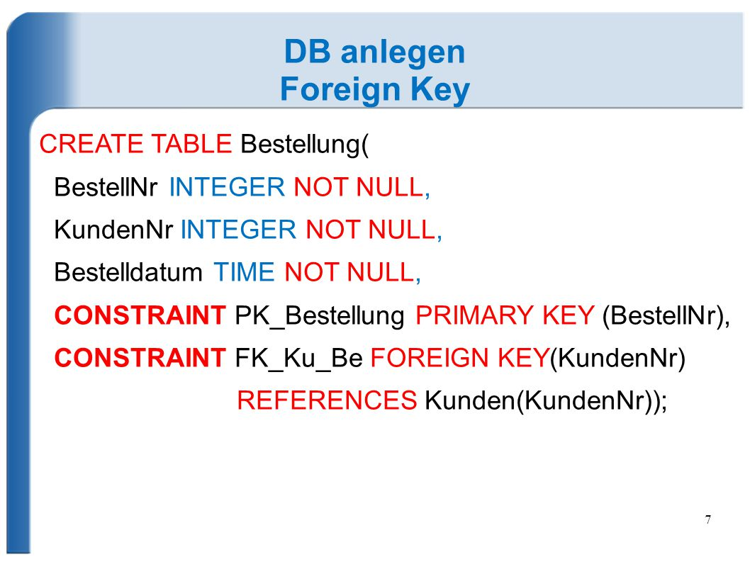 DB anlegen Foreign Key CREATE TABLE Bestellung(