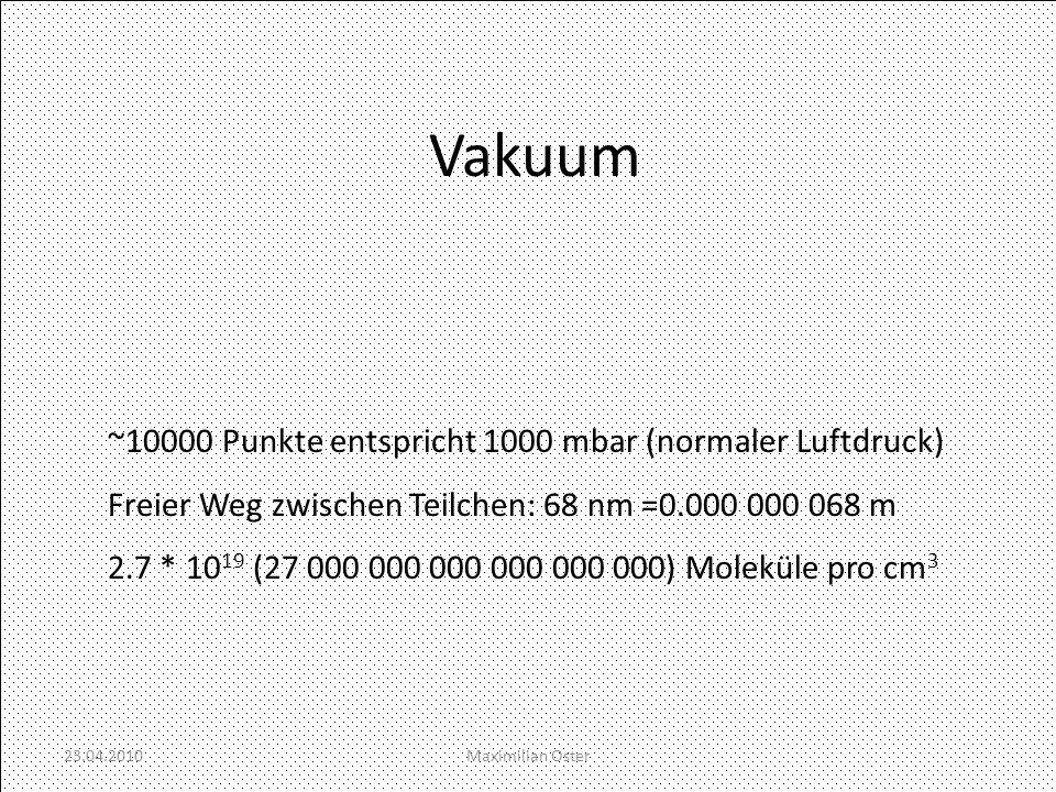 Vakuum ~10000 Punkte entspricht 1000 mbar (normaler Luftdruck)