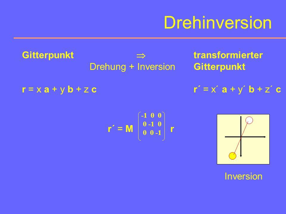 Drehinversion Gitterpunkt  transformierter Drehung + Inversion Gitterpunkt. r = x a + y b + z c r´ = x´ a + y´ b + z´ c.