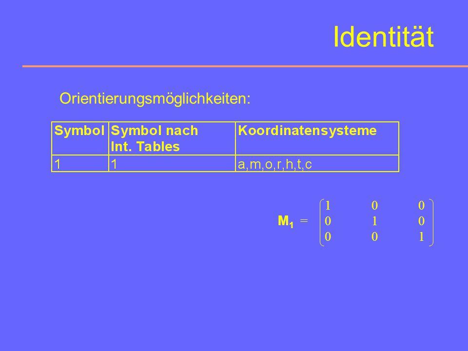 Identität Orientierungsmöglichkeiten: 1 0 0 M1 = 0 1 0 0 0 1
