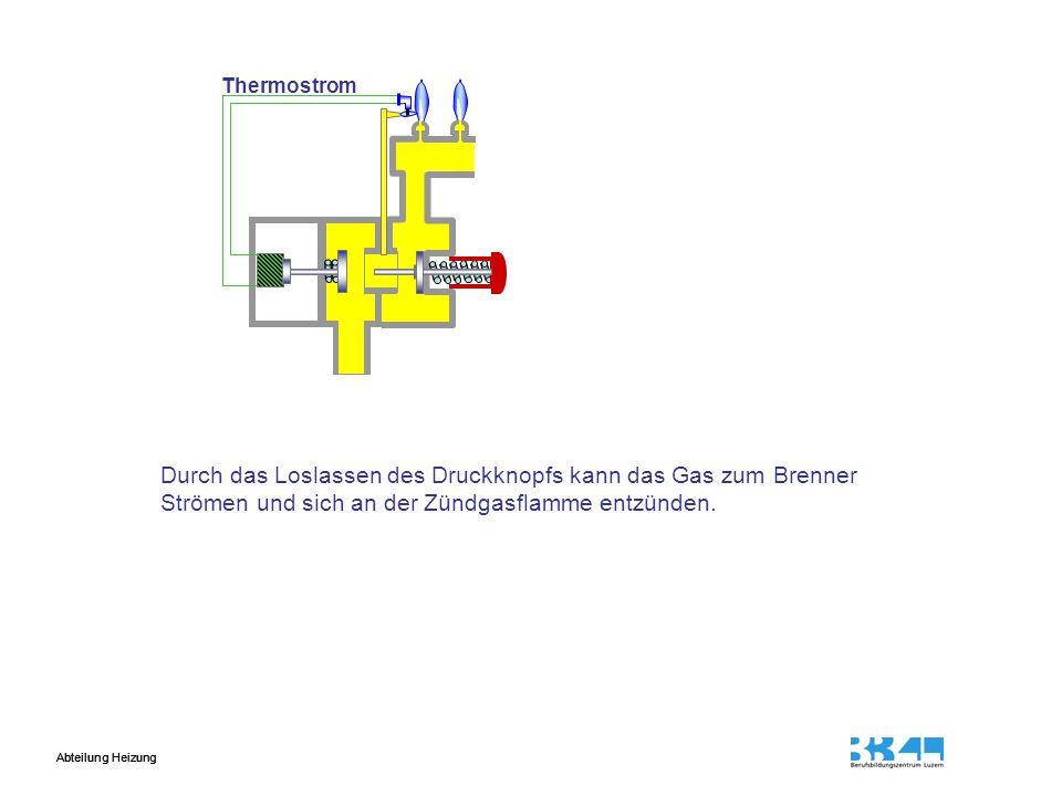 Durch das Loslassen des Druckknopfs kann das Gas zum Brenner
