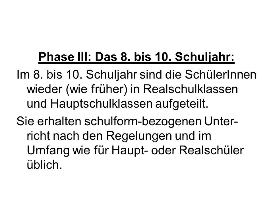 Phase III: Das 8. bis 10. Schuljahr: Im 8. bis 10