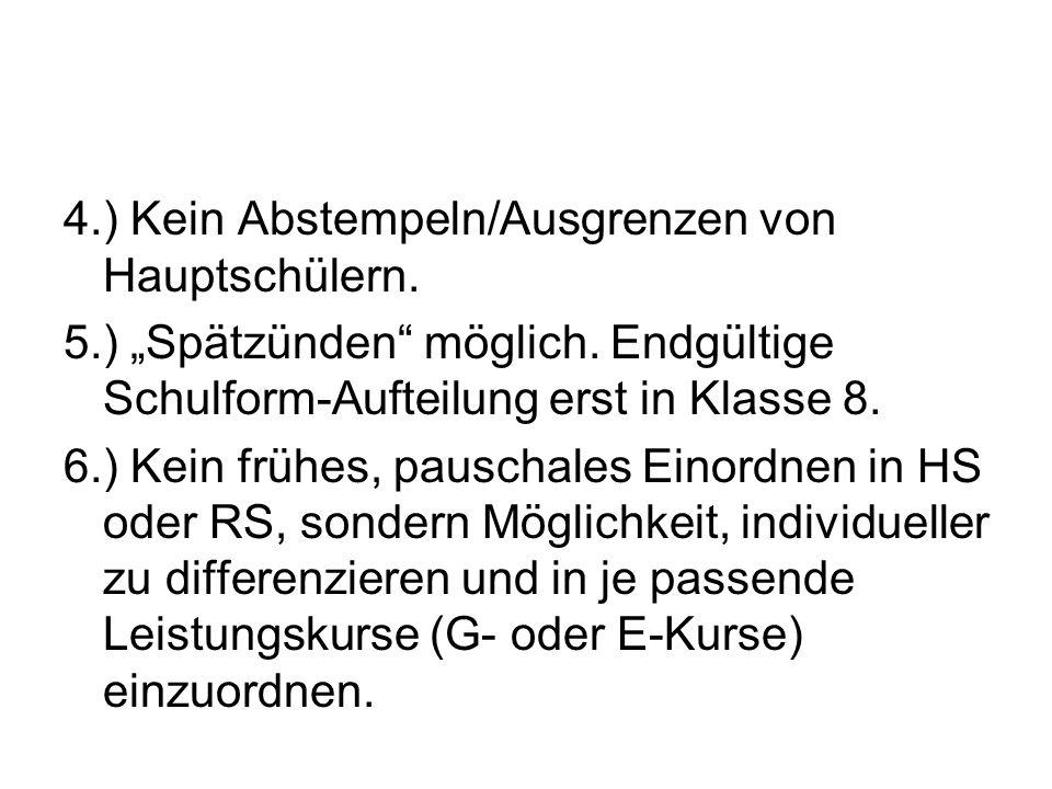 4. ) Kein Abstempeln/Ausgrenzen von Hauptschülern. 5