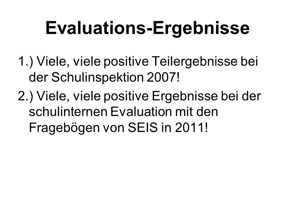 Evaluations-Ergebnisse