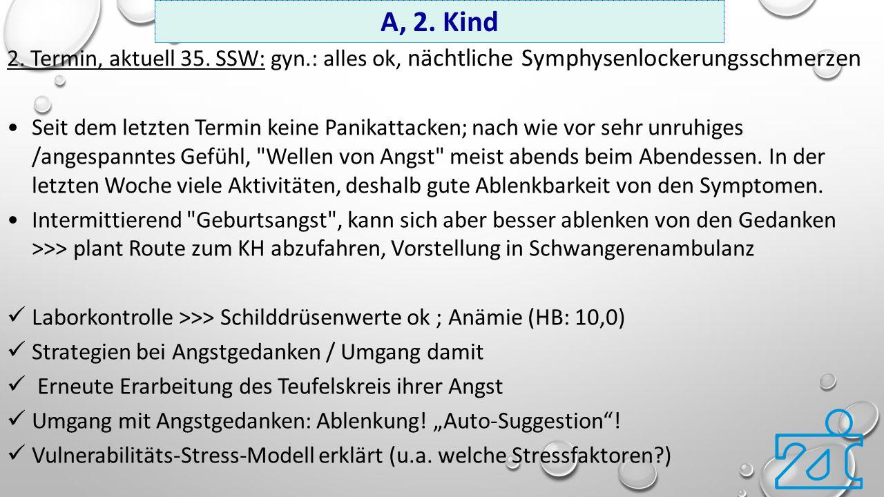 A, 2. Kind 2. Termin, aktuell 35. SSW: gyn.: alles ok, nächtliche Symphysenlockerungsschmerzen.