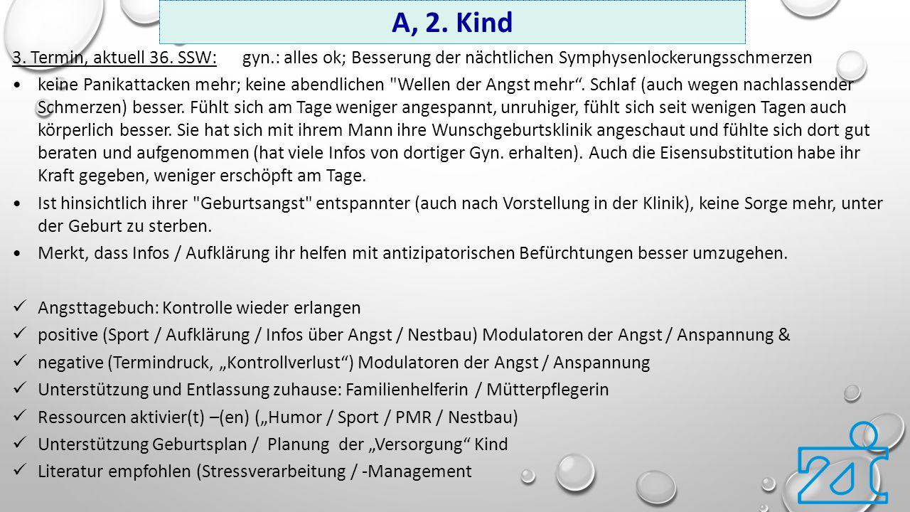 A, 2. Kind 3. Termin, aktuell 36. SSW: gyn.: alles ok; Besserung der nächtlichen Symphysenlockerungsschmerzen.