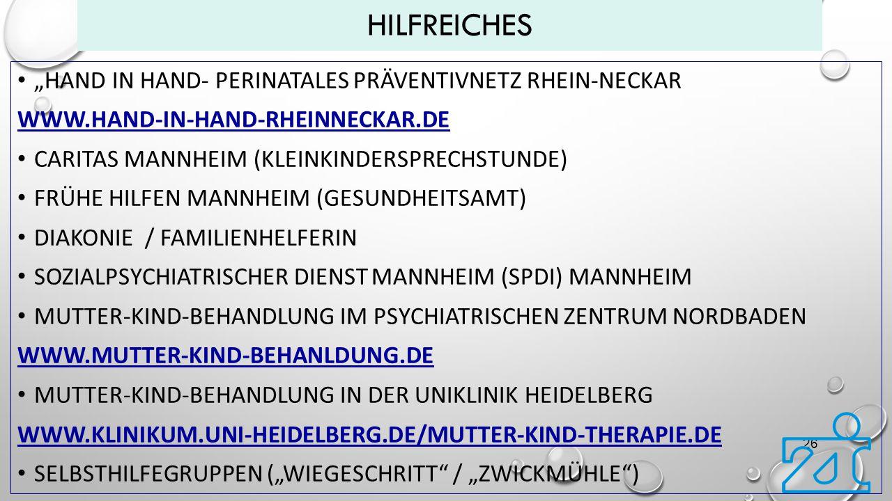 """Hilfreiches """"Hand in hand- Perinatales Präventivnetz Rhein-Neckar"""