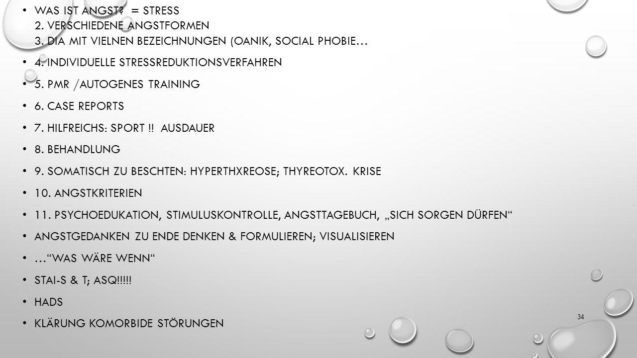 Was ist Angst. = Stress 2. Verschiedene Angstformen 3